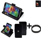 K-S-Trade Top Set: 360° Funda Smartphone para LG Electronics K8 (2018), Negro + Anillo Protector | Función de Stand Caso Monedero BookStyle Mejor Precio, Mejor Funcionamiento