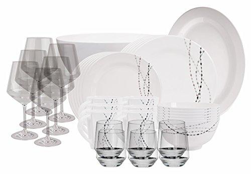 100% Melamin-Geschirr Line elfenbeinweiss/grau rund + W…   04260241465747