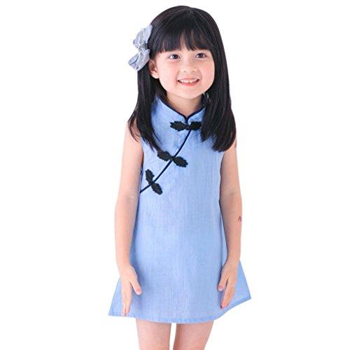 Niña princesa vestido,Sonnena estilo Chino Cheongsam vestido de niños sin manga linda vestido de la muchacha encantadora de días casuales vestido elegante Niña de fiesta verano de princesa (120, AZUL)