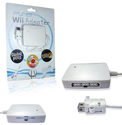 SATKIT Adaptador 3 en 1 mandos PS2 para mando remoto Wii (mandos, guitarras y tambor)