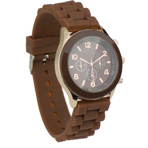Unisex Uhr Silikon Jelly Damen Herren Quarz Sport Stilvoll Armbanduhr braun (Jelly-damen-uhr)