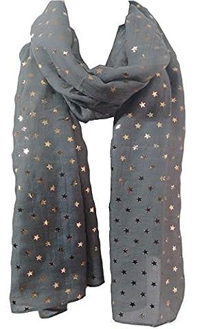 Stars Scarf STAR Print Summer Rose Gold Metallic Foil Fashion Ladies Womens Classy Party Wrap (Grey