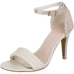 Damen Schuhe, JL1588, PUMPS, HIGH HEELS SANDALETTEN, Synthetik in hochwertiger Lederoptik , Beige, Gr 39