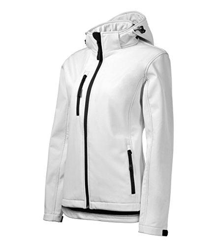 Damen Outdoor Softshelljacke mit Kapuze - Winddicht Funktions Regen Wasserabweisend Atmungsaktiv Tailliert Jacke (Weiß, L)