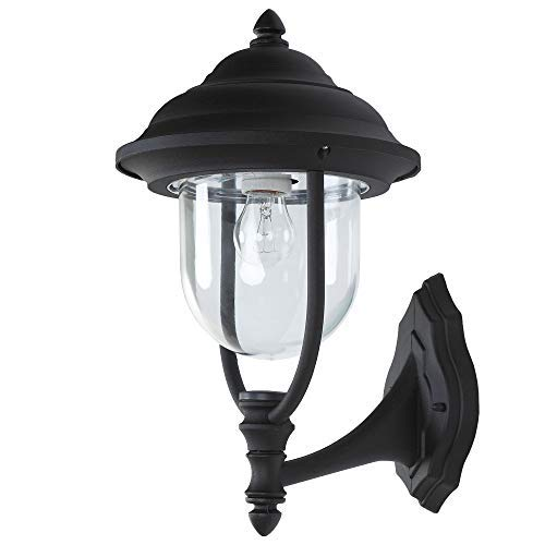 Außenwandleuchte in Schwarz E27 230V | Wandleuchte klassische Form | Wandlampe Außen IP44 |...
