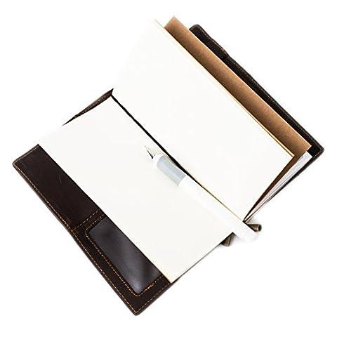 DUEBEL Nachfüllbares handgemachtes Weinlese-Leder-Tagebuch-Notizbuch / Walle mit 4 Kartenschlitz + Identifikation + Bill-Abteil + Telefon-Fach +