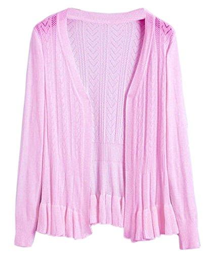 Smile YKK Femme Cardigan Tricot Manteau Pull Blouson Uni Pour Printemps Automne Rose