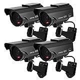 TOROTON Caméras factices avec Panneau Solaire, Fausse de Sécurité Caméra CCTV avec LED Lumière pour Usage Intérieur Extérieur (4 Pack, Noir)