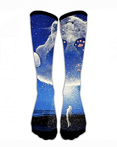Jxrodekz Männer & Frauen Klassiker Crew Socken Weiße Katze Galaxy und Frauen Lustig Verrückt Einzigartig Dick Warme Baumwolle Crew Winter Socken - Lustige Kostüm Zum Verkauf
