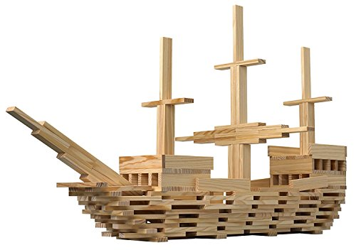 The Cuddle - XXL-Set Bauklötze, Bausteine aus Natur Holz, 300 Teile, für Kinder und Baby, im Eimer