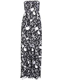 Frauen plus Größe Boob Tube drucken Sheering Sommer-Maxi Kleid 36-54