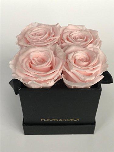 FLEURS du COEUR Infinity Blumen - schwarze Rosenbox Le Carré eckig mit rosa Rosen ... - Bild Rosa Rosen