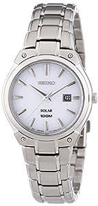 Seiko Solar - Reloj de cuarzo para mujer, con correa de acero inoxidable, color plateado de Seiko