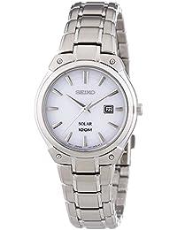 Seiko  Solar - Reloj de cuarzo para mujer, con correa de acero inoxidable, color plateado