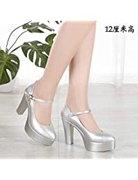 51cf3b31 Yukun zapatos de tacón alto PU Grueso con Zapatos de otoño Zapatos de tacón  Alto para Mujer Zapatos Gruesos y…