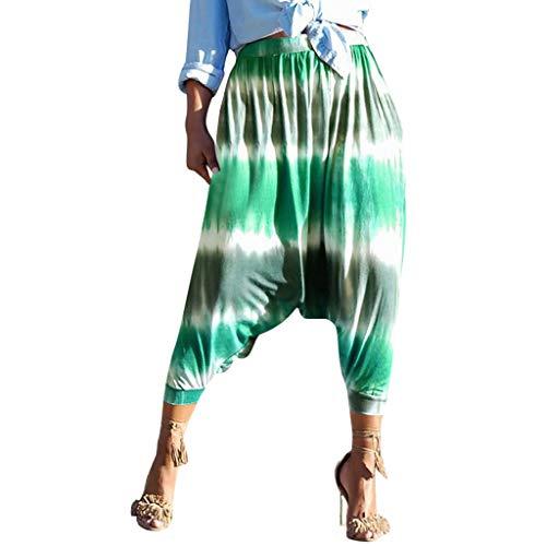 egging Frauen Fitness Gestreifte Workout Sporthosen Mittlere Taillen Gedruckte Harem Hosen Modisch Elastische Traininghose ()
