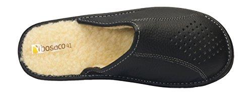Pour des hommes confort luxe chaussons Veritable Cuir de vache naturel 100% Laine Doublure Noir