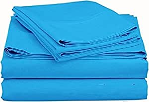 American Beddng Collection Sleeper Sofa Bed Sheet Set Color Turquoise Solid Egyptian Cotton
