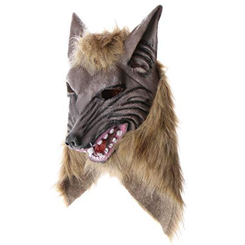P Prettyia Horrible Masque Effrayant Réaliste Tête Loup Costume Prop Halloween Déguisements Cosplay Fêtes Maison Hantée