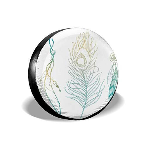 Usicapwear Tire Cover Tire Cover Wheel Covers,Aesthetic First Nations Feather and Peacock Tail In Traditional Design Theme,for SUV Truck Camper Travel Trailer Accessories 14 inch -