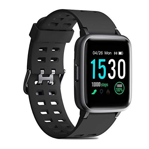 CHEREEKI Reloj Inteligente, 1.3 Pulgada IP68 Pulsera de Actividad con Monitor de Ritmo cardíaco, Podómetro, Control Remoto de música, Reloj Actividad para Android y iOS(Negro)