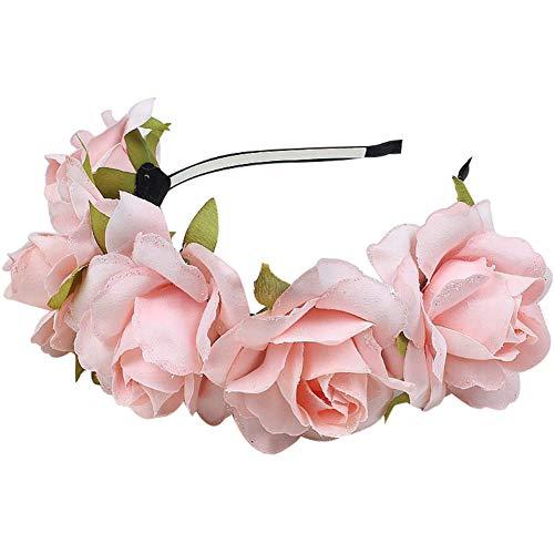 AchidistviQ - Cerchietto per capelli con petali di glitter, ghirlanda di fiori finti, decorazione da sposa
