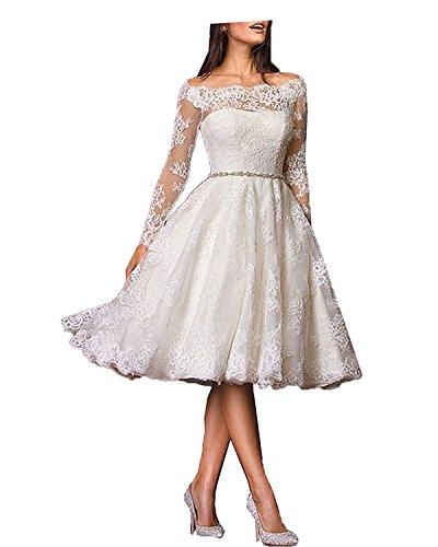 YASIOU Hochzeitskleid Brautkleid Standesamt Damen A Linie Spitze Tüll Weiß Vintage mit ärmel...