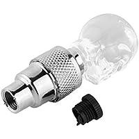 Vovotrade - 2pcs Forma del Cráneo Tapa de Válvula Gorra Luz LED Rueda Neumático Lámpara para Coche Moto Bicicleta (Blanco)