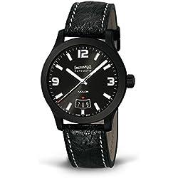 Clock Eberhard Aiglon 41030N Automatic quandrante Steel Black Leather Strap
