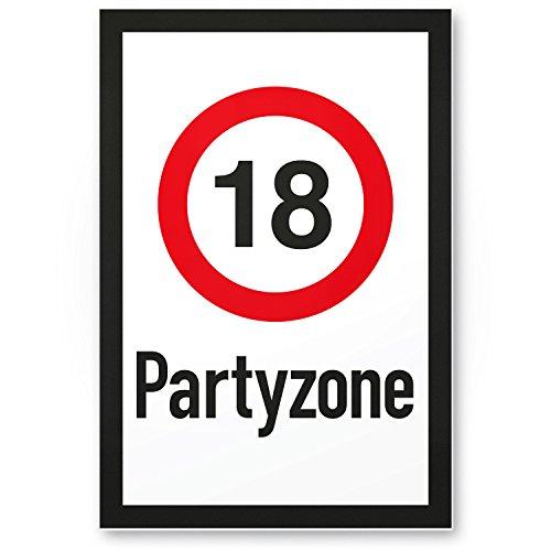 DankeDir! 18 Partyzone - Kunststoff Schild, Geschenk 18. Geburtstag, Geschenkidee Geburtstagsgeschenk Achtzehnten, Geburtstagsdeko/Partydeko / Party Zubehör/Geburtstagskarte (Achtzehnten Geburtstag Dekorationen)