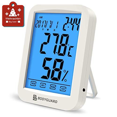 Bodyguard Digitales Thermometer Hygrometer, Luftfeuchtigkeit Monitor mit Blauer Hintergrundbeleuchtung, Kombiniert mit Kalender, Uhr und Weckfunktionen, Geeignet für Babyzimmer, Schlafzimmer, Büros
