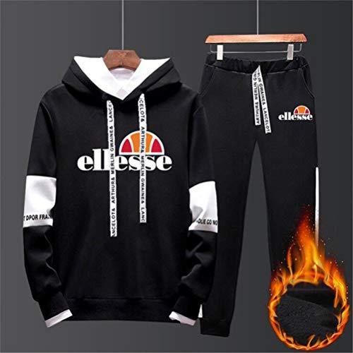 SIMPLE LOVE Ellesse Kapuzenpullover Hoodie Herren Jogging Anzug + Lange Hose Hip Hop Hoodies Classic Logo Hooded Sweatshirt Cotton Pullover Sportanzug,Schwarz,XXXL