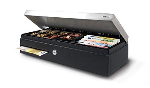 Safescan SD-4617S Klappdeckel Kassenlade, elektrische und Schlussel Öffnung mit 8 Münzfächern oder 6 Banknotenfächern, Abmessungen 46 x 17 cm, schwarz