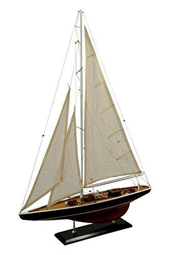 Großes Modell Segelschiff/Segelboot - Schwarz/Weiß - Höhe 86cm / Länge 60cm - Maritime Dekoration/Standmodell/Fertigmodell/Dekoration/Tischdekoration/Deko/Miniatur/Modellschiff/Modellboot (Holz-boote-modelle)
