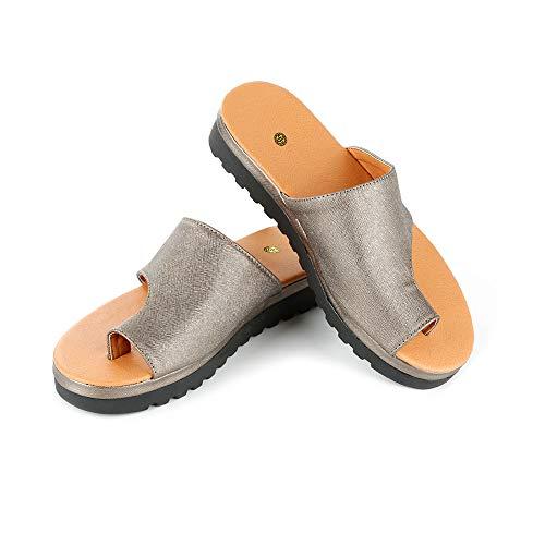 LARRY-X Bequeme Plattform-Sandale der PU-Leder-Frauen Korrektive Zehen-Schuhe kommen mit Bogen-Unterstützungs-Sommer-Reise-Strand-Freizeitschuhen - Larry Leder