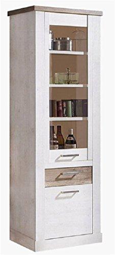 Landhaus Vitrinenschrank Weiß Eiche Antik Glas Vitrine Wohnzimmer Schrank Standvitrine