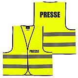Warnweste Gelb Orange, beidseitig bedruckt auf Brust und Rücken mit Ordner, Security große Auswahl Motive Aufdrucke 023 Presse (Gelb) XXL