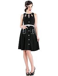 Voodoo Vixen 50s Robe Style Rétro avec poches–Vintage Wilma Dress avec Cut Out Noir