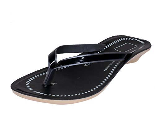 Indistar Womens Black/Gray Comfortable Flip Flop/House Slipper Size-6  available at amazon for Rs.199