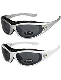 2er Pack Choppers 911 X0 Sonnenbrillen Motorradbrille Sportbrille Radbrille mit Polsterung in den Farben schwarz, anthrazit, silber und weiß
