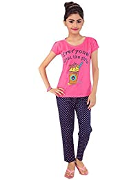Kid's Care Night wear - Track Suits - Pyjama Tshirt Casual wear Combo Set for Kids/Girls-Cotton Material- Half Sleeve - Kids Wear - Track Pant and Tshirt(1048)