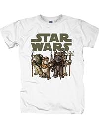 Star Wars T-Shirt - Ewoks aus Rückkehr der Jedi-Ritter, offiziell lizenziert, großer Frontprint, weiß - XXL