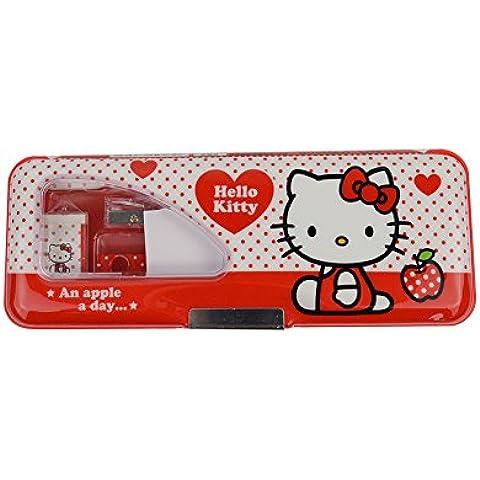 Hello Kitty caja de lápiz de plástico incluye lápices / Afilador / Borrador / Gobernante KT9308