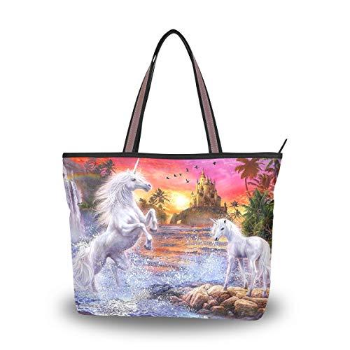 Unicorn Fancy Damen Stylische Shopper Handtasche Schultertasche Einkaufstasche für Damen Herren Reise Strand Messenger Bag mit Reißverschluss Casual Große Kapazität