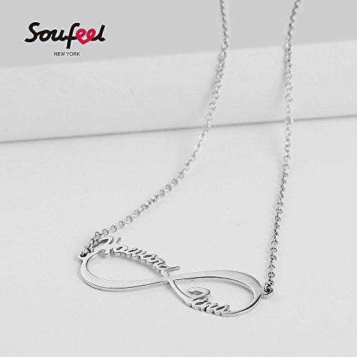 d8547017ec46 SOUFEEL Collar Plata Colgante con Nombre Infinito Personalizados Regalo  para Familia Cadena.