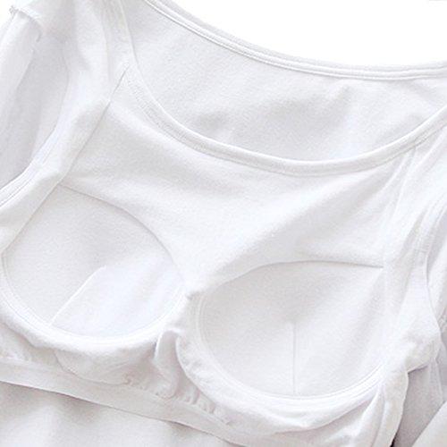 HONFON Femmes Manche Longue Tee Décolleté U Soutien-gorge Intégré Rembourré T-shirts Haut Blanc