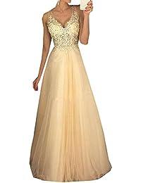 Damen Chiffon Lange Ballkleider Perlen Abendkleid A-Linie Partykleider 3debf2c3a1