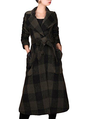 Herbst und Winter Damen Fashion lose Plaid Windbreaker Wollmantel Jacke 3/4Ärmellänge Grün - Dunkelgrün