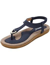 Sandalias Mujeres Bohe Rhinestone Moda Plano Talla grande Bohemia Sandalias casuales Zapatos de playa Sandalias romanas Chanclas de damas LMMVP