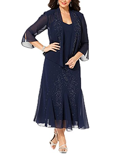 WDH Dress Plus Size Tea Length Mother Of The Bride Dress With Jacket